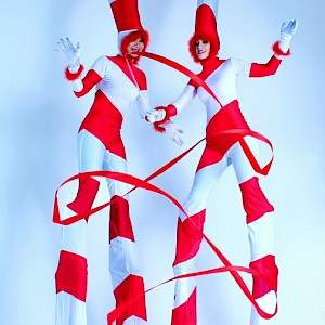 uk candy cane stilt walkers