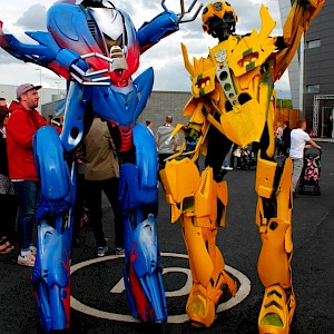 optimus prime stilt walker hire uk