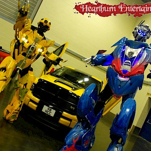 Optimus Prime and Bumblebee from Transformers hire uk