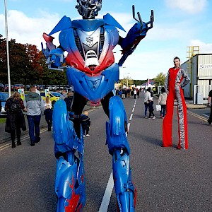 optimus prime stilt walker robot hire uk