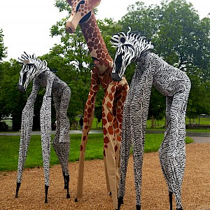 animal stilt walkers hire