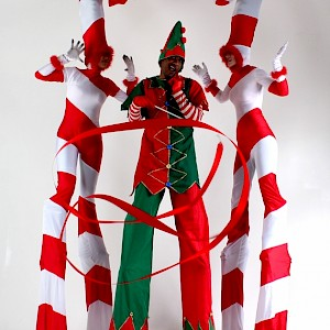 christmas candy cane stilt walkers