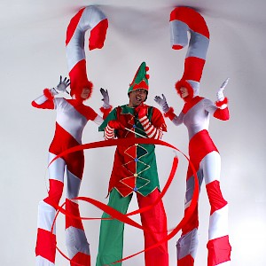 candy cane stilt walkers uk