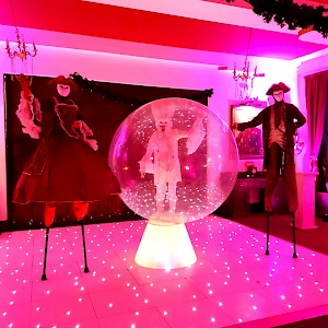 masquerade ball human snow globe hire