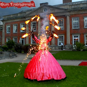 Masquerade themed fire entertainment