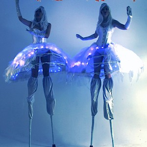 Bar mitzvah stilt walkers
