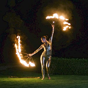 greatest showman fire performers hire uk