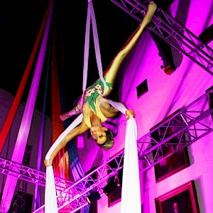 greatest showman aerial performer hire uk