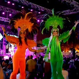 festival themed stilt walkers hire