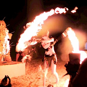 tribal party fire dancers